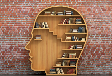 Book shelf shaped like a human head